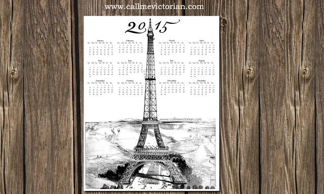 darmowy kalendarz z wieżą eiffela do druku