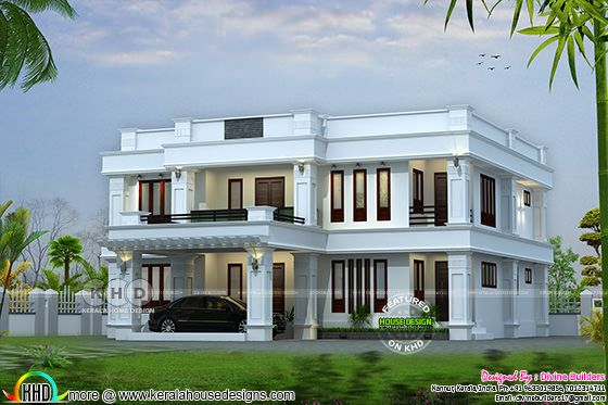 2810 sq-ft flat roof 4 BHK house plan