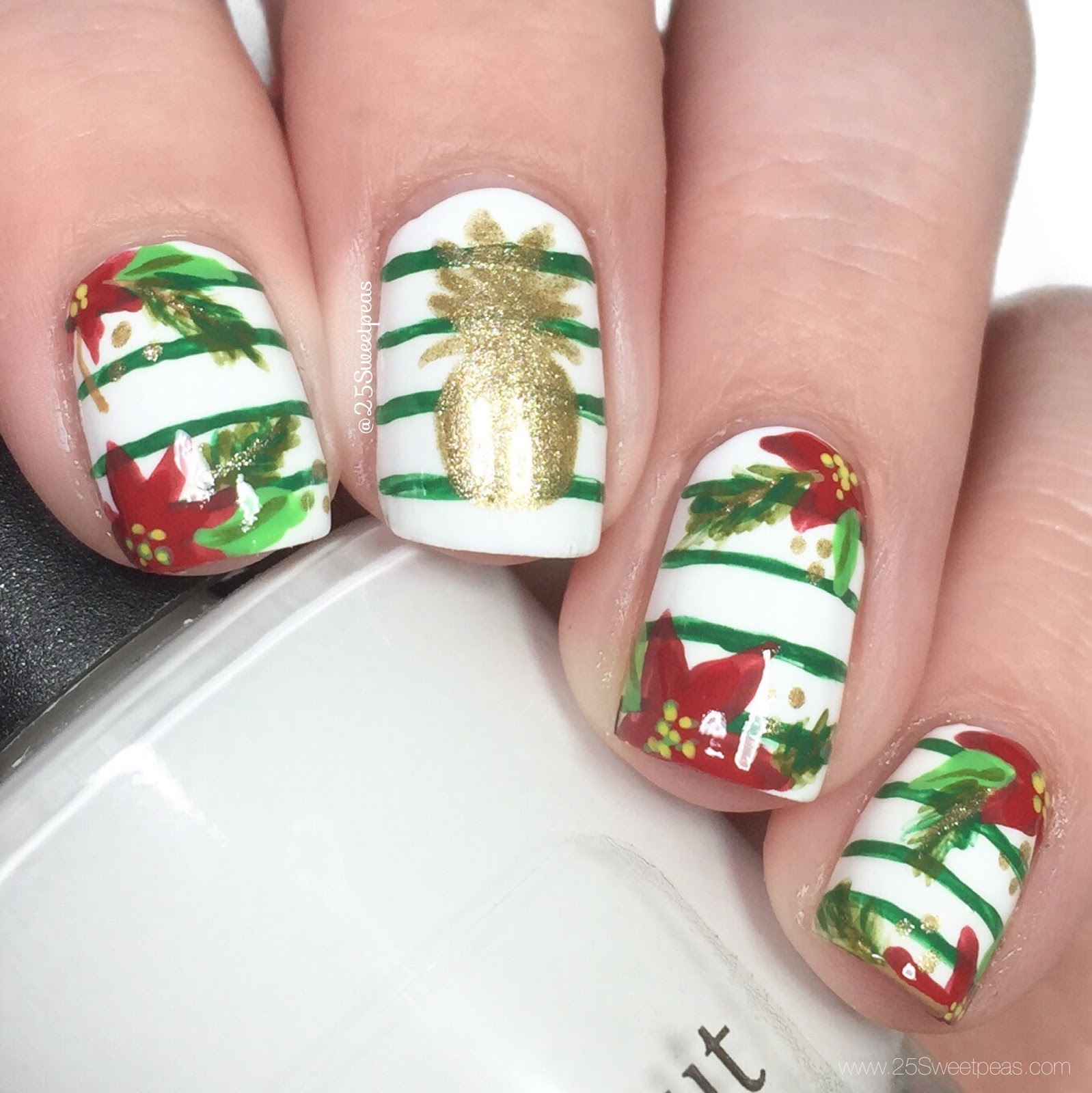 Pineapple Christmas Nails