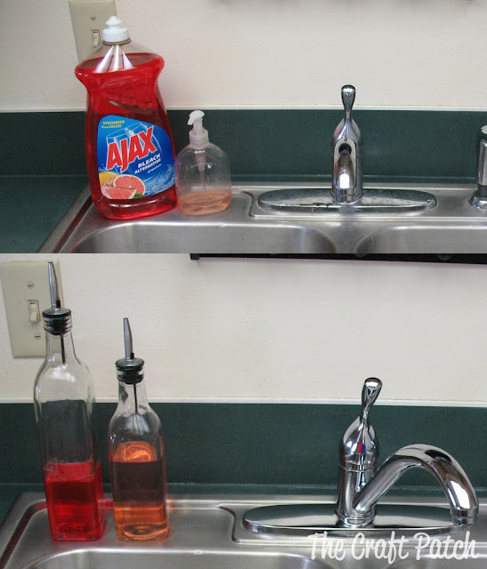 Olive Oil dispensers filled with dish soap