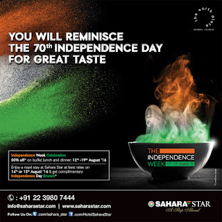Celebrate the 70th Independence Day with Hotel Sahara Star's week-long celebration  full of lucrative offers on stay and dining!