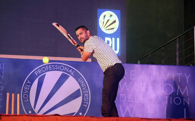 MS Dhoni hitting a shot during his vist at LPU