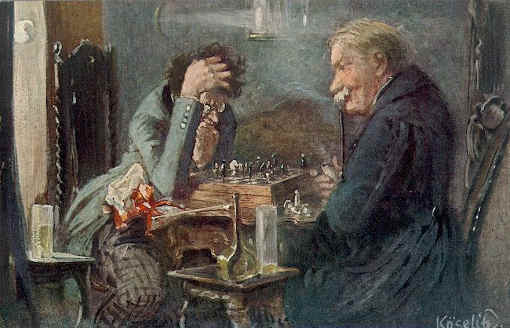 Les joueurs d'échecs de Rudolf Köselitz (1861-1948)