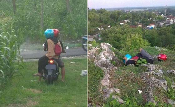 Foto: Dikira Korban Kecelakaan, Sepasang Remaja Tepergok Mesum di Pinggir Jalan