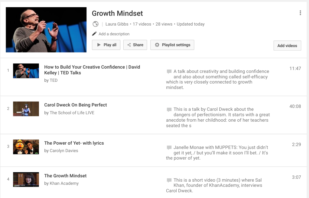 Growth Mindset Zone: Tech Tip: Advantages of a YouTube Playlist