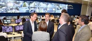 El intendente Gabriel Katopodis recibió a Patricia Bullrich y Cristian Ritondo en el Centro Operativo de Monitoreo.