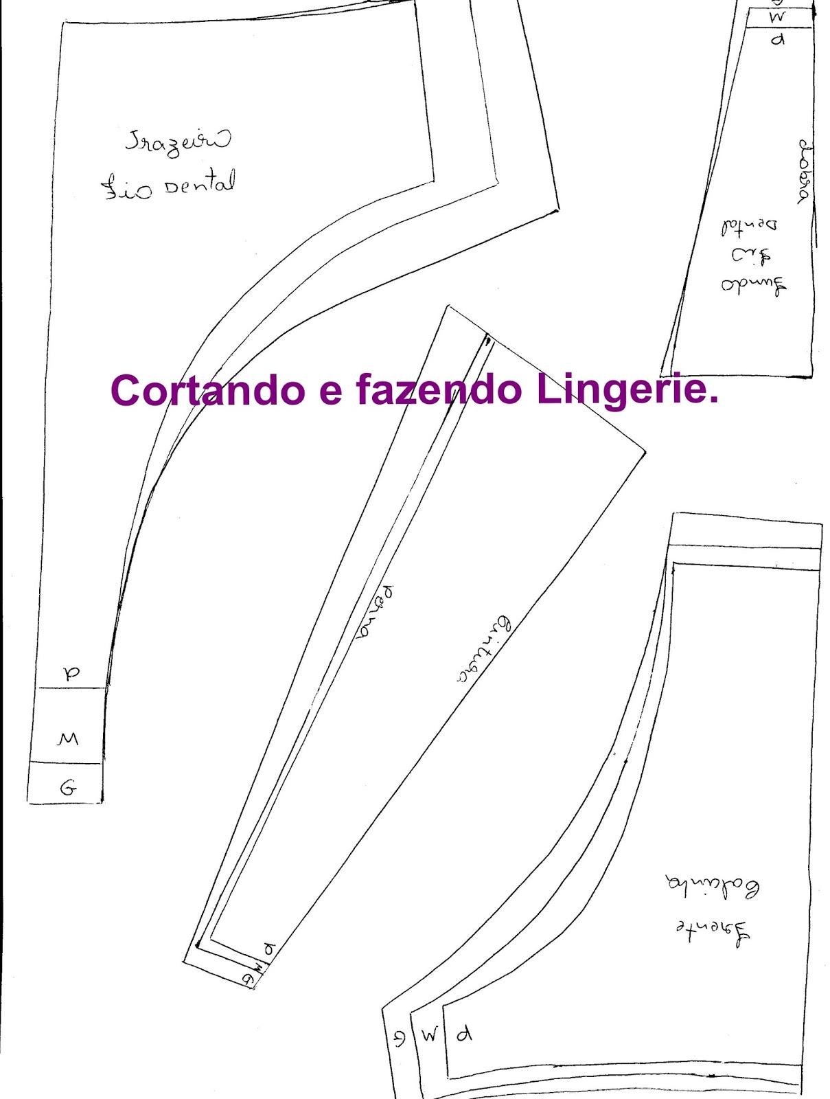bc9338fd0 Cortando e Fazendo Lingerie.  Molde gratuíto da calcinha fio dental.