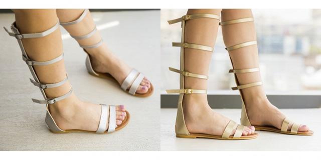 Sandale inalte aurii, argintii pana la genunchi ieftine la moda