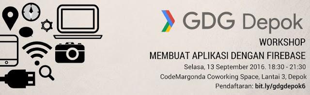 """Google Developer Group Depok(GDG Depok) sedang mengadakan meetup """"GDG Depok Workshop: Membuat Aplikasi dengan Firebase"""". Yuk kawan ikuti event ini sebelum mencapai batas maksimalnya kawan, dan acara tersebut tidak di pungut biaya apapun kok kawan alias gratiiiisssss..."""