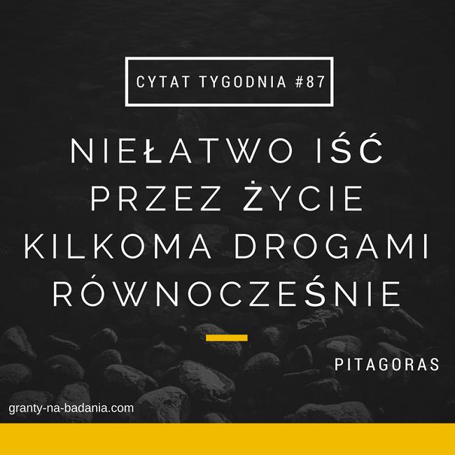 Niełatwo iść przez życie kilkoma drogami równocześnie - Pitagoras