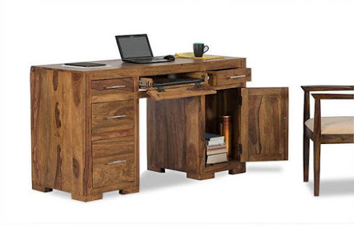 Solid rosewood desk with three drawers