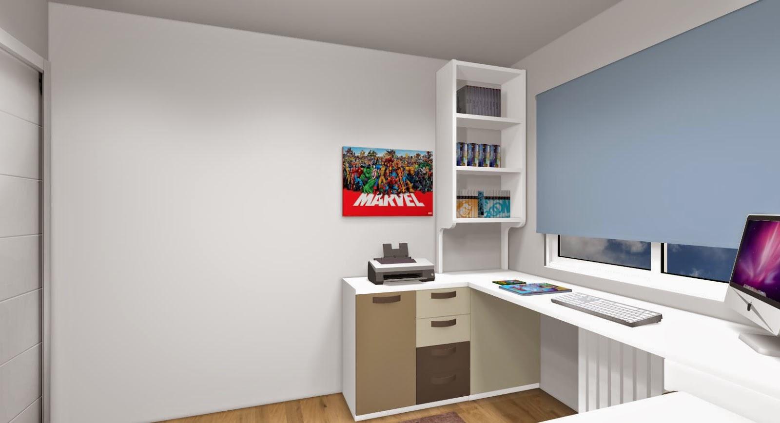Zona de capacidad con puertas y cajones con mesa de estudio haciendo rincon y estanteria encima - Mesas estudio juveniles ...