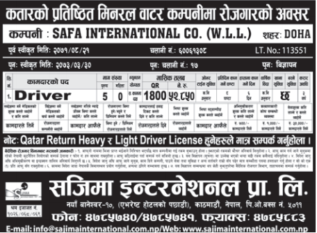 Jobs For Nepali In QATAR, Salary -Rs.52,850/
