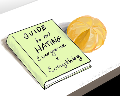 "A green book titled ""Guide to Not Hating Everyone and Everything"" sits on a white desk with a peeled orange missing a slice."