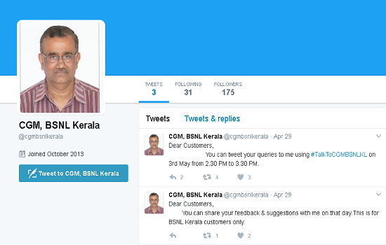 We are Listening : Live Twitter session to interact and share feedback with BSNL Kerala Head on 3rd May 2017