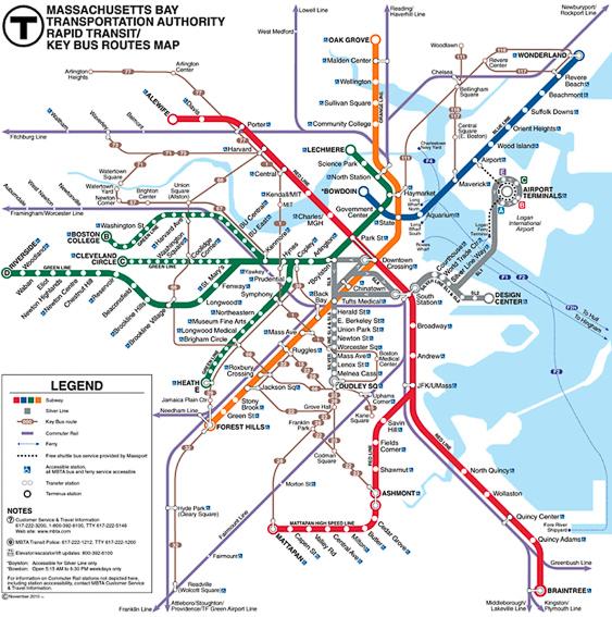 Mapa del metro de Boston
