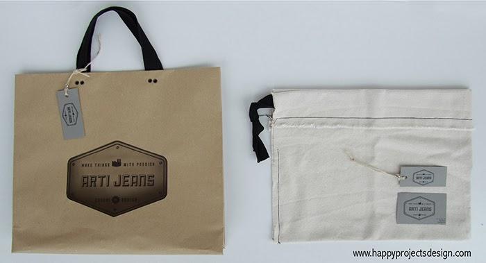 Logo & Packaging Artijeans: bolsa de papel craft troquelada y bolsa interior de algodón