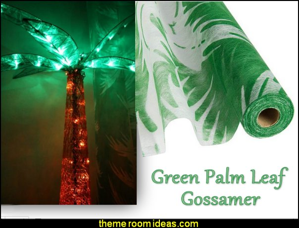 Green Palm Leaf Gossamer  Tropical party decorations - tropical party ideas - ALOHA Hawaii Luau Party Decorations - Luau Hawaiian Grass Table Skirt raffia Decorations - Hula Hibiscus Tropical Birthday Summer Pool Party Supplies - tiki party pineapple party decorations - beach party - Birthday party  photo backdrop - tropical themed cake decorations - beach tiki themed table decorations -  party props - summer party