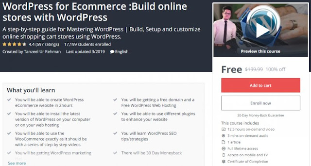 [100% Off] WordPress for Ecommerce :Build online stores with WordPress| Worth 199,99$
