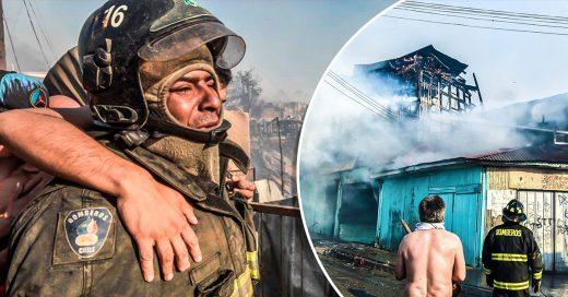 Bombero ve como se quema su casa y continua trabajando