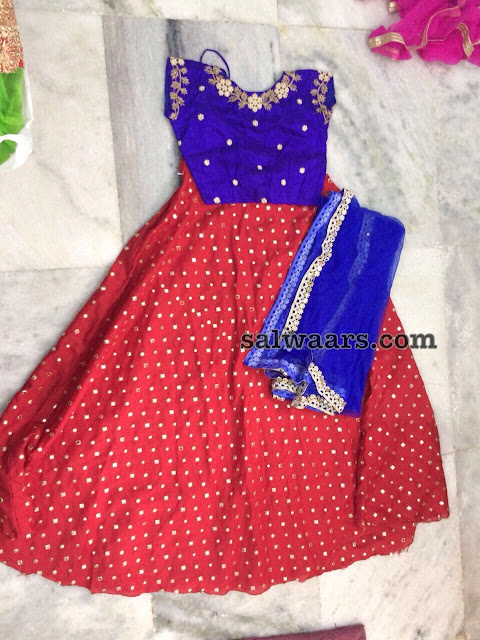 Red Crop Top with Blue Blouse