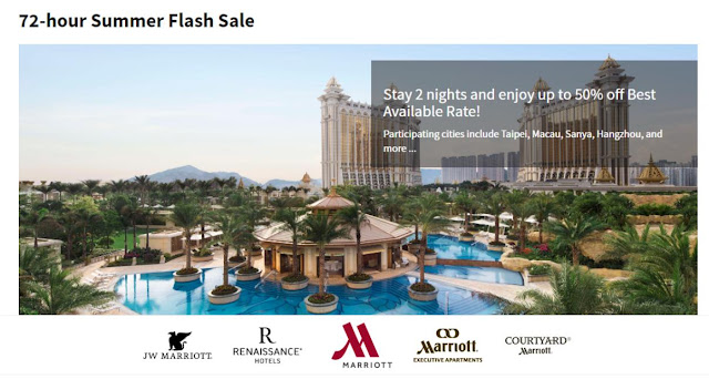 Marriott 萬豪酒店 72小時限時優惠,香港、澳門、台北、中國酒店 5折起。