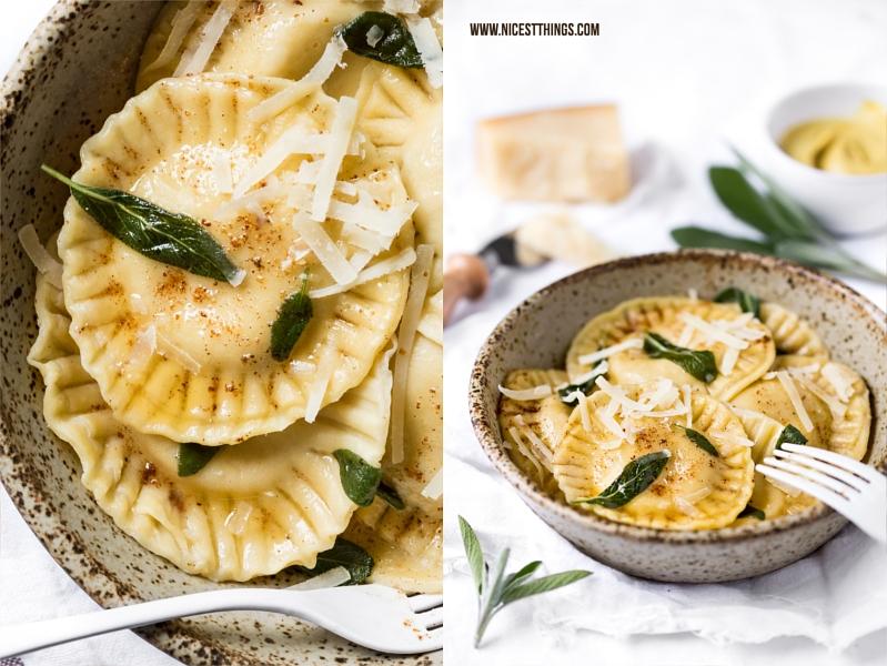 Ravioli mit Ziegenkäse, Walnüssen, Honig und Senf in brauner Butter und Salbei