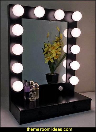 Hollywood Vogue Lighted Make-up Vanity Back Stage Mirror Black