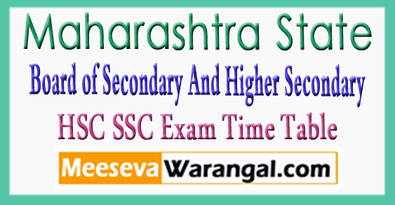 MH Board of Secondary And Higher Secondary Education 10th 12th Class Exam Time Table 2018