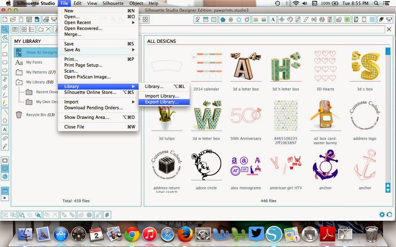 Silhouette Mint, Silhouette Studio, Silhouette Studio library, upload