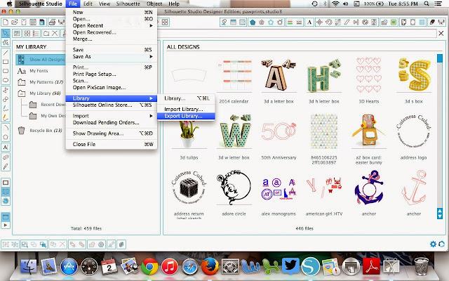 Silhouette Studio, Silhouette tutorial, back up, export, move, Silhouette Studio library, Silhouette Studio V3, Cloud