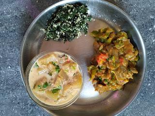 Valarpirai Parambariya Unavugal's Kambu parota with Capsicum Tomato Onion, Ash gourd Kurma, Ponnaanganni Greens poriyal