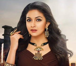Keerthy Suresh in Chocolate Color Dress with Cute Smile in AVR Jewellers Ad
