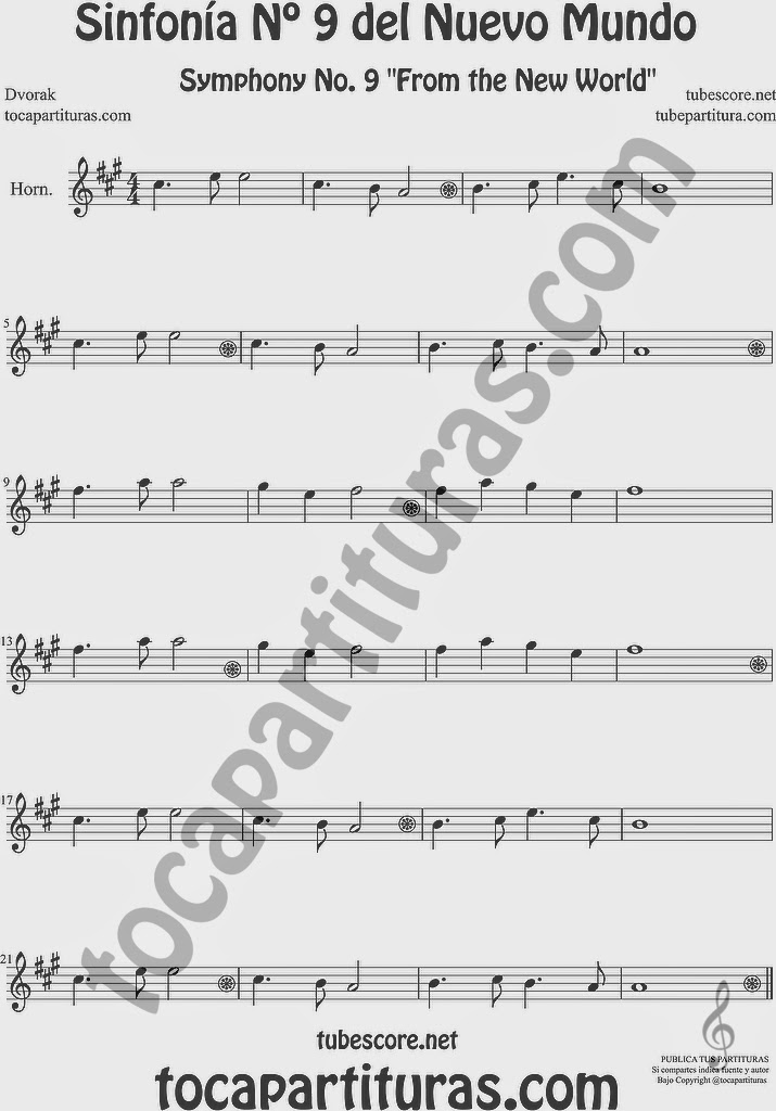 Sinfonía del Nuevo Mundo Partitura de Trompa y Corno Francés en Mi bemol 9º Simphony From the New World by Dvorak Sheet Music for French Horn Music Scores