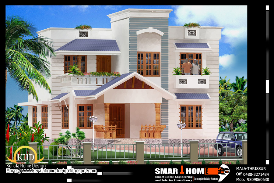 Home plan and elevation 1789 sq ft kerala house for Indian home outer design