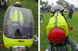 Two photos, one of front of motorcycle, one of rear.