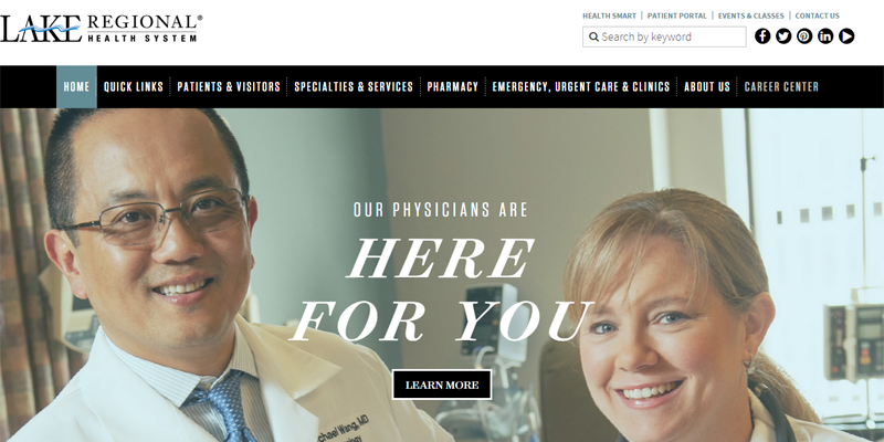 Lake Regional Health System homepage