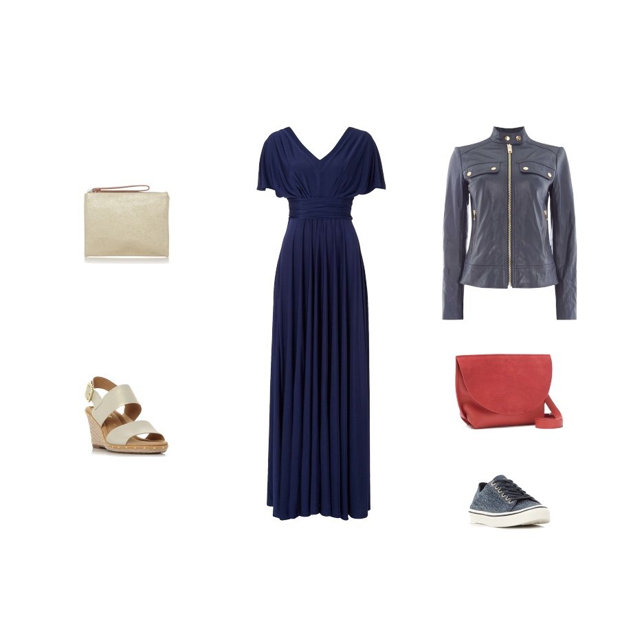 my midlife fashion, house of fraser, issa offf shoulder kate maxi dress, mint velvet lillia red saddle bag, caroline gardner metallic gold clutch, gabor anna two stud detail metallic wedge sandals, michael kors mod leather jacket with zip detail, tommy hilfiger knitted skitted trainers