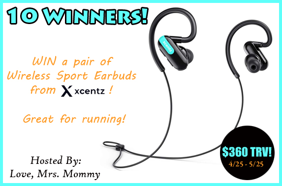 10 Winners! Xcentz Bluetooth Headphones Wireless Sport Earbuds Giveaway! Ends 5/25