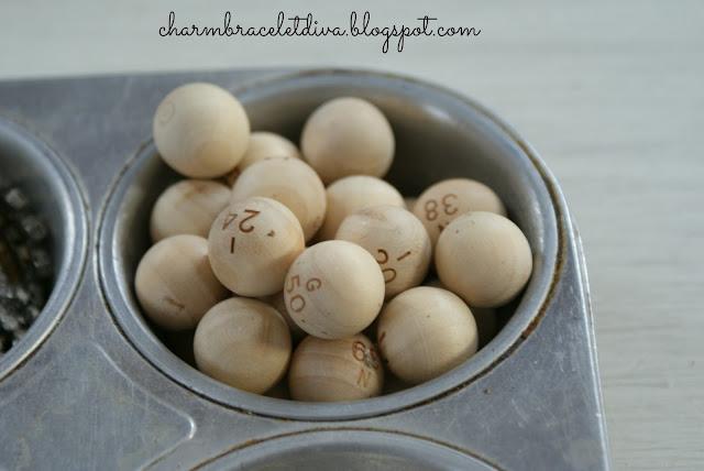 vintage cupcake tin wooden bingo balls