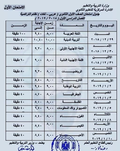 جدول امتحانات الصف الاول الثانوى جميع المحافظات الترم الاول 2019 عربى - لغات