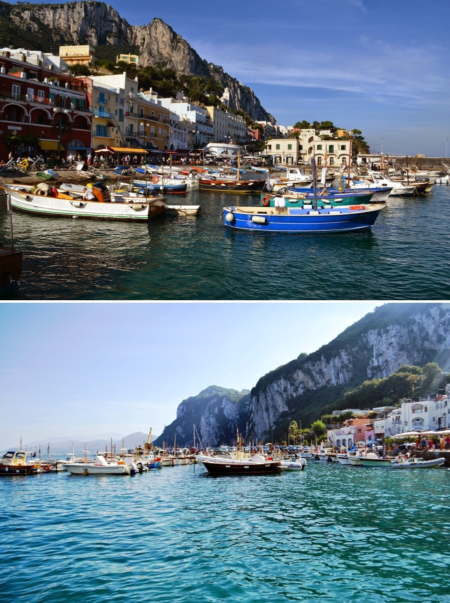 Colourful boats on Capri Wharf in Italy