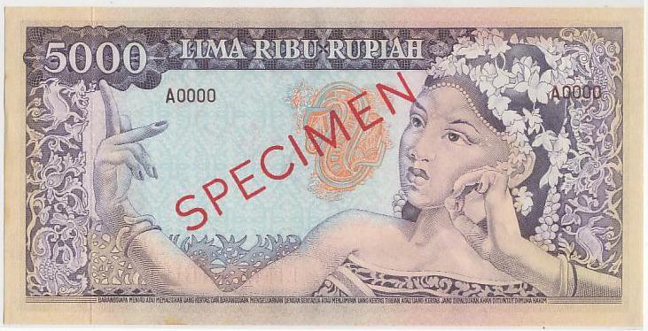 uang 5 ribu rupiah soekarno 1965 belakang