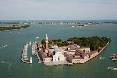 Aerial View of the Island of San Giorgio Maggiore, photo by Alessandra Chemollo, courtesy of Fondazione Giorgio Cini, for LUXOS Magazine