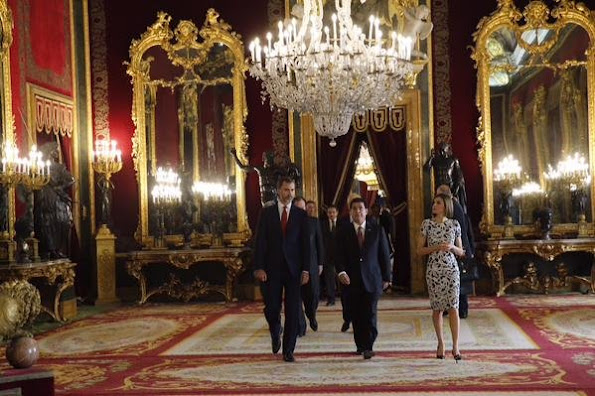 King Felipe VI of Spain and Queen Letizia of Spain receives President of Paraguay Horacio Manuel Cartes Jara