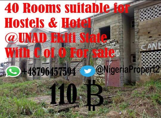 40 Rooms suitable for Hostels & Hotel On A Tarred Road @UNAD Ekiti State With C of O For sale