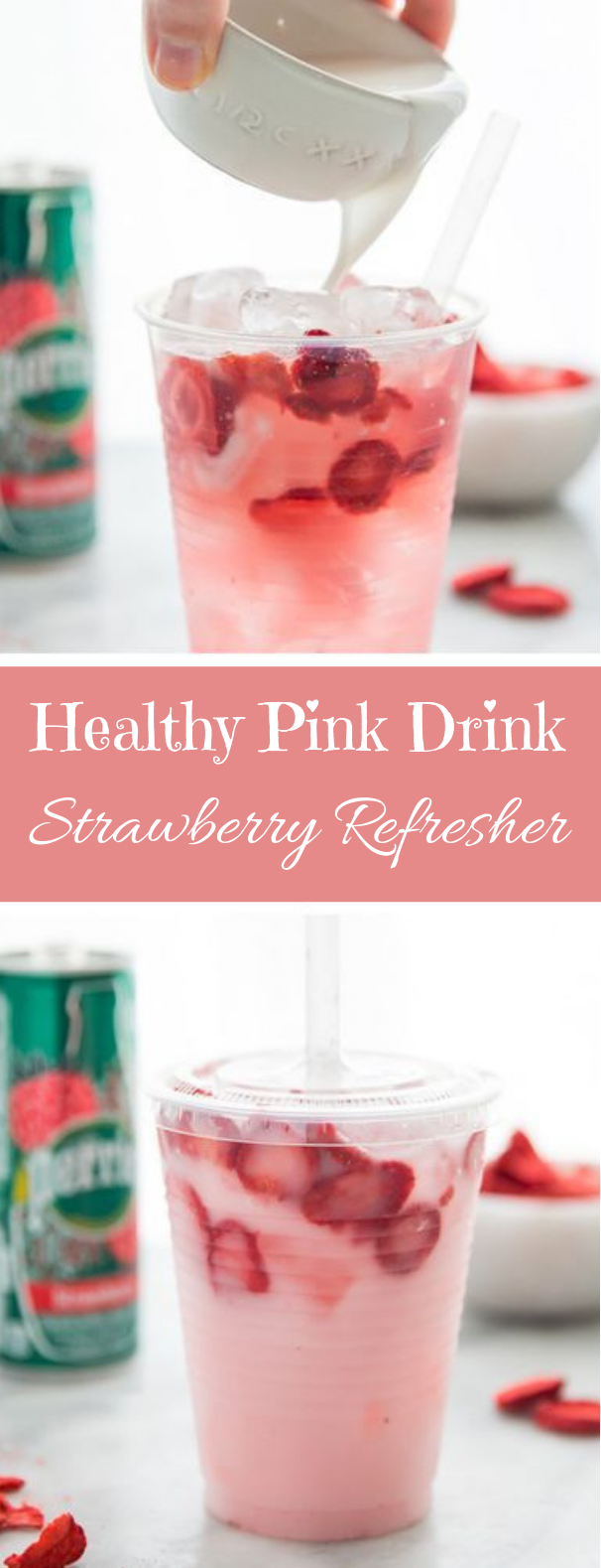 Healthy Pink Drink Strawberry Refresher #strawberry #healthydrink