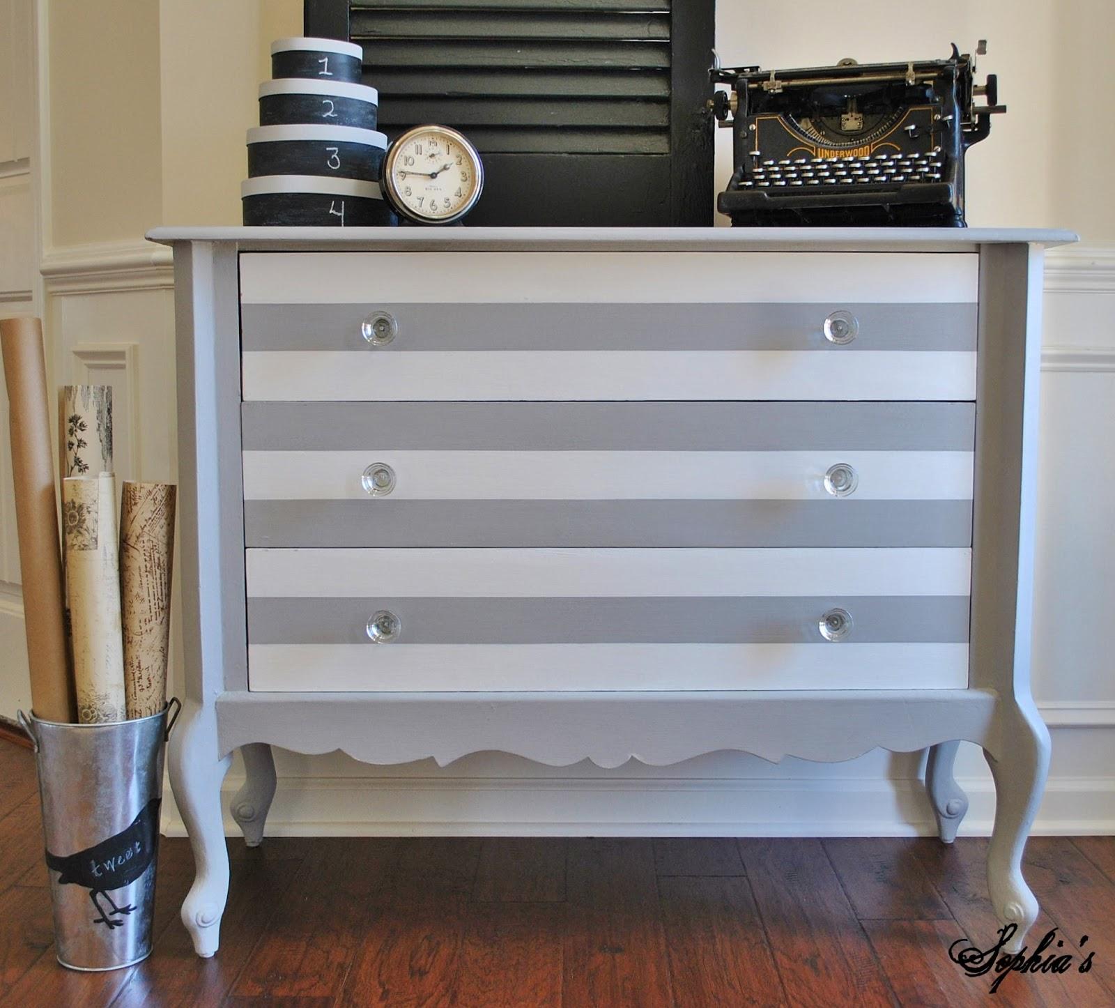 Famous Sophia's: Paris Grey & White Striped Dresser RO84