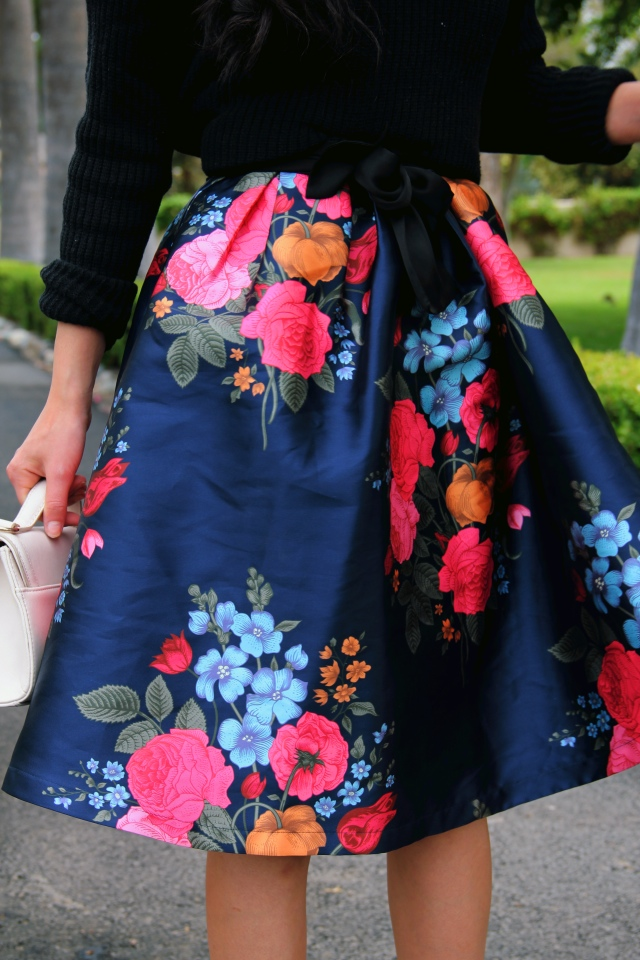 chi chi london blue floral dress skirt black bp mock neck sweater outfit bow