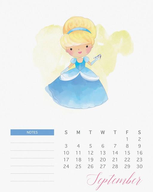 Calendario 2017 de las Princesas Disney para Imprimir Gratis  Septiembre.